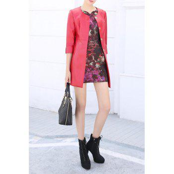 Single Breasted PU Leather Coat - RED M