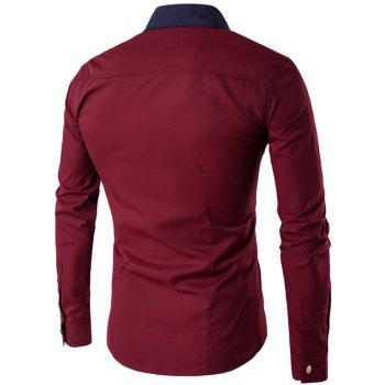 Metal Embellished Contrast Collar Button Up Shirt - WINE RED 2XL