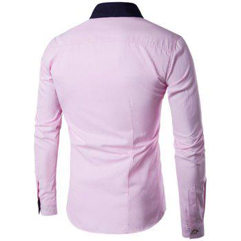 Metal Embellished Contrast Collar Button Up Shirt - PINK 4XL