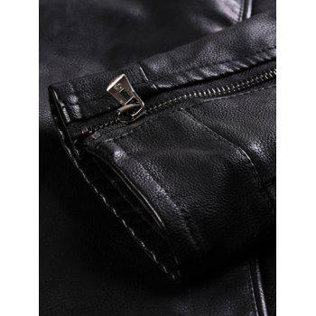 Stand Collar PU-Leather Zip-Up Jacket - COFFEE COFFEE