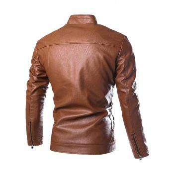 Stand Collar PU-Leather Zip-Up Jacket - BROWN L