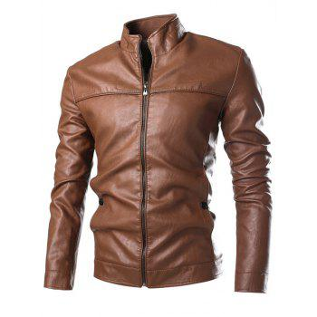 Stand Collar PU-Leather Zip-Up Jacket - BROWN BROWN