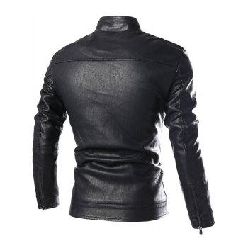 Stand Collar PU-Leather Zip-Up Jacket - BLACK 3XL