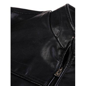 Stand Collar PU-Leather Zip-Up Jacket - BLACK BLACK