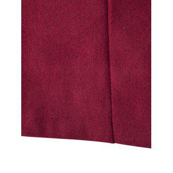 Long Sleeves Woolen Blend Single-Breasted Coat - WINE RED WINE RED