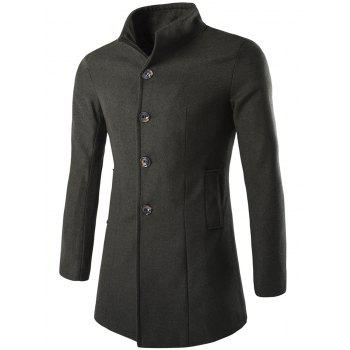 Long Sleeves Woolen Blend Single-Breasted Coat - ARMY GREEN ARMY GREEN