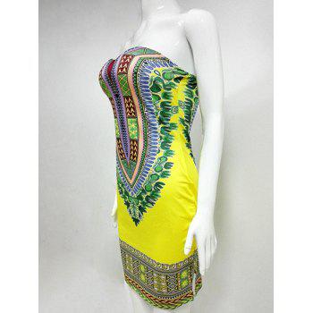 African Style Printed Strapless Bandeau Bodycon Summer Dress - YELLOW 2XL