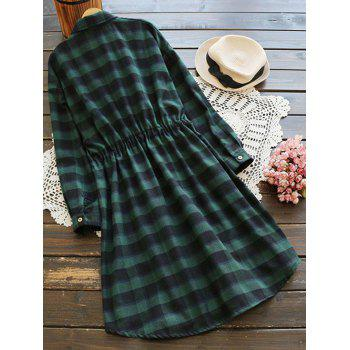 Checked Pocket Button Up Shirt Dress - BLACK/GREEN ONE SIZE