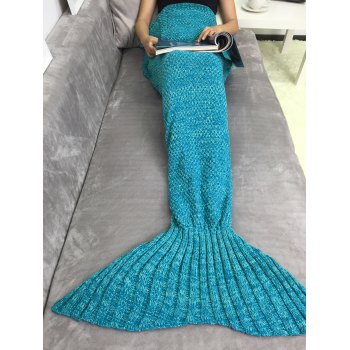 Super Soft Acrylic Knitting Mermaid Tail Sofa Blanket - LAKE BLUE
