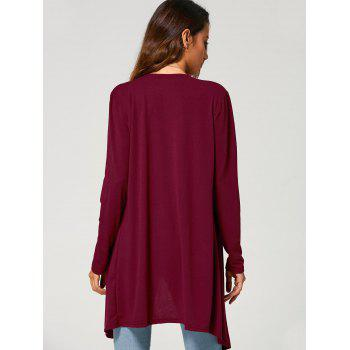 Long Duster Draped Cardigan - WINE RED M