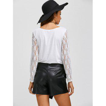 Lace Sleeve Cowl Neck T-Shirt - WHITE M