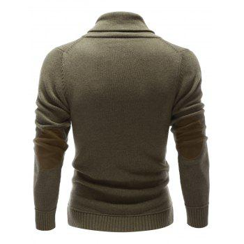 Button Embellished Shawl Collar Pullover Sweater - OLIVE GREEN L
