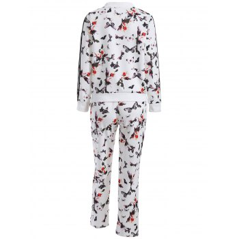 Butterfly Print Zip Up Sweatshirt and Sweatpants - WHITE L