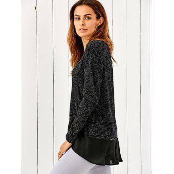 Chiffon Patchwork Heather Asymmetrical T-Shirt - BLACK GREY M