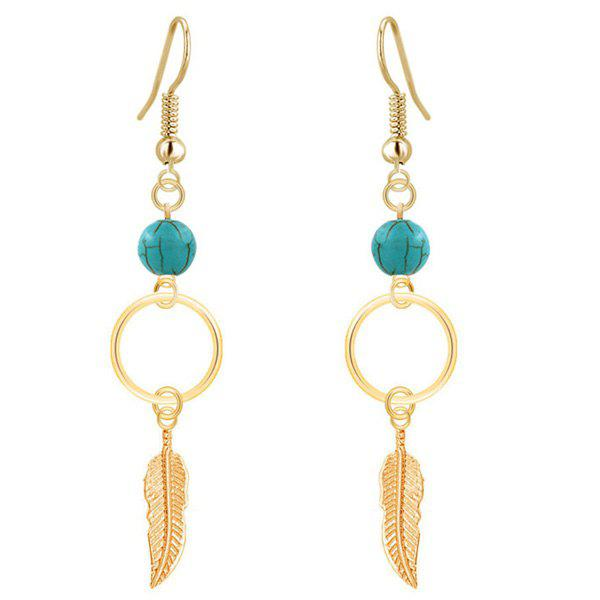 Gold Plated Leaf Turquoise Drop Earrings