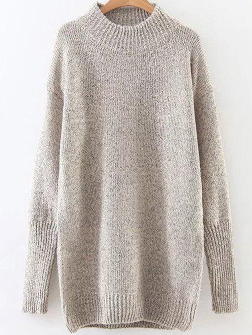 High Neck Long Loose Sweater - CHAMPAGNE ONE SIZE