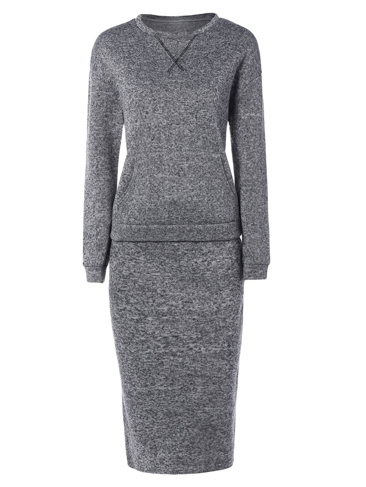 Space Dyed Sweater and Kintting Slit Pencil Skirt - DEEP GRAY XL
