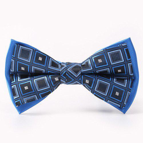 Simple Tartan Pattern Double-Deck Bow Tie - BLUE