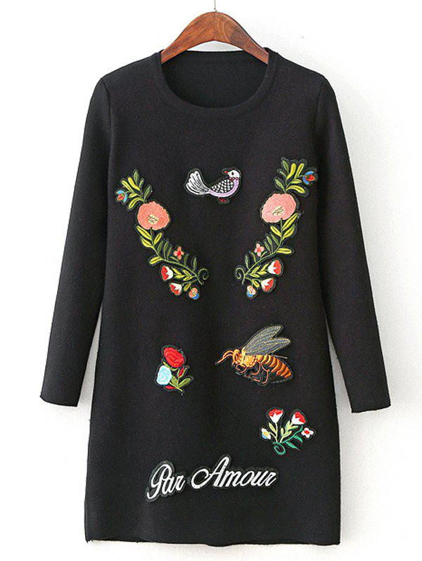Long Sleeve Sweater Dress with Embroidery - BLACK ONE SIZE