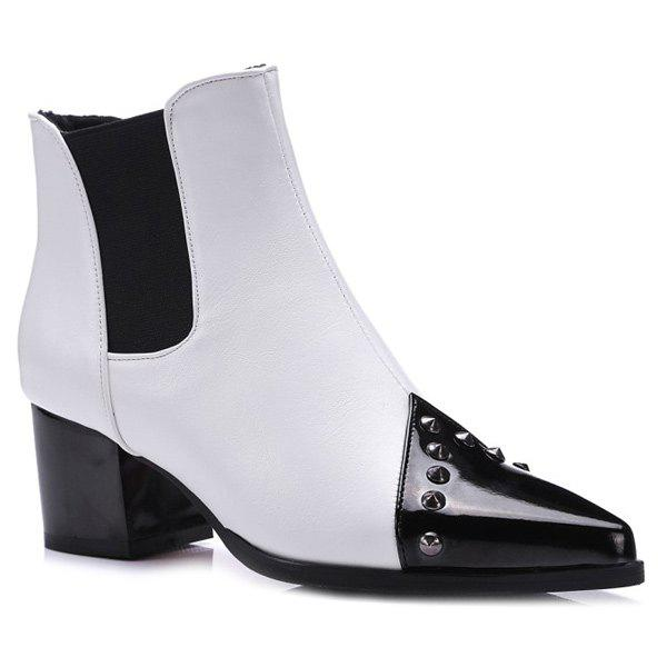 Rivet Chunky Heel Pointed Toe Ankle Boots - WHITE 39
