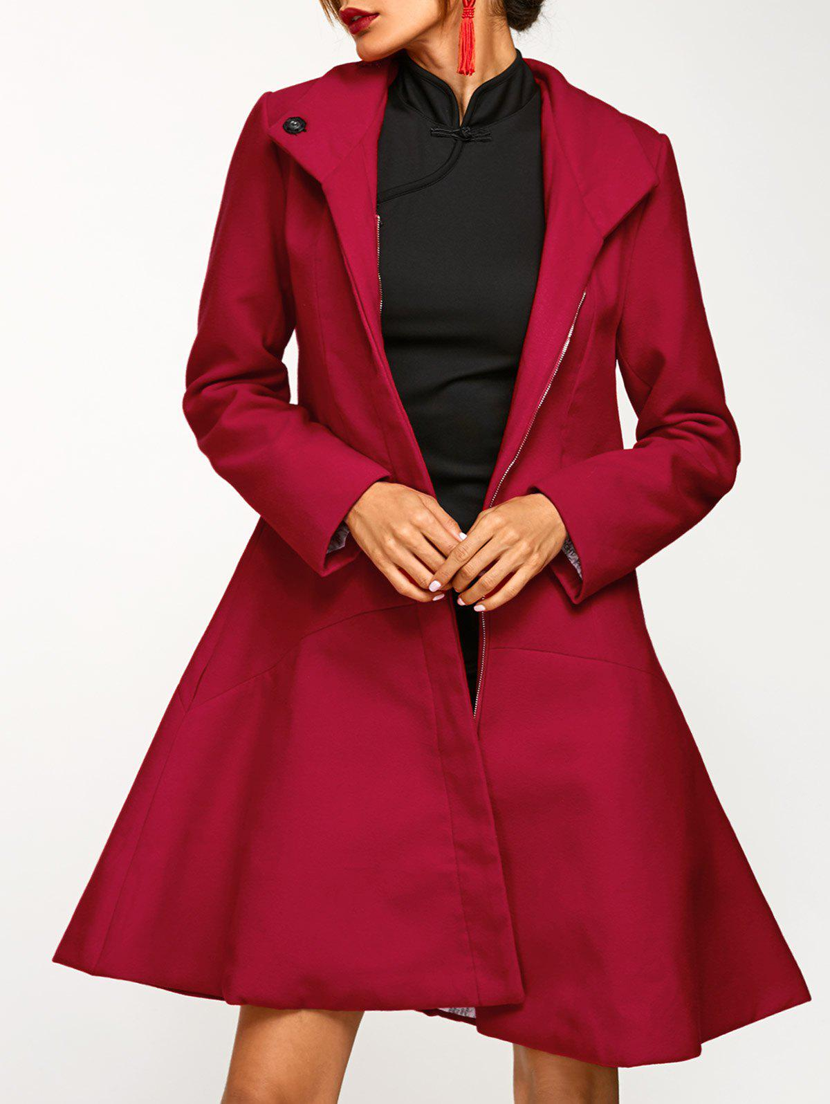 Cotton Long Skirted  Coat - DEEP RED 2XL