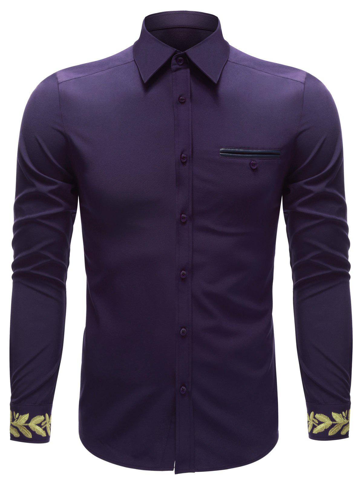Breast Pocket Embroidered Cuff Button Up ShirtMen<br><br><br>Size: XL<br>Color: PURPLE