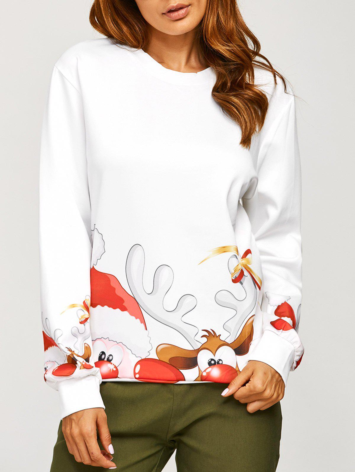 Christmas Santa Claus Elk Print Sweatshirt - WHITE ONE SIZE