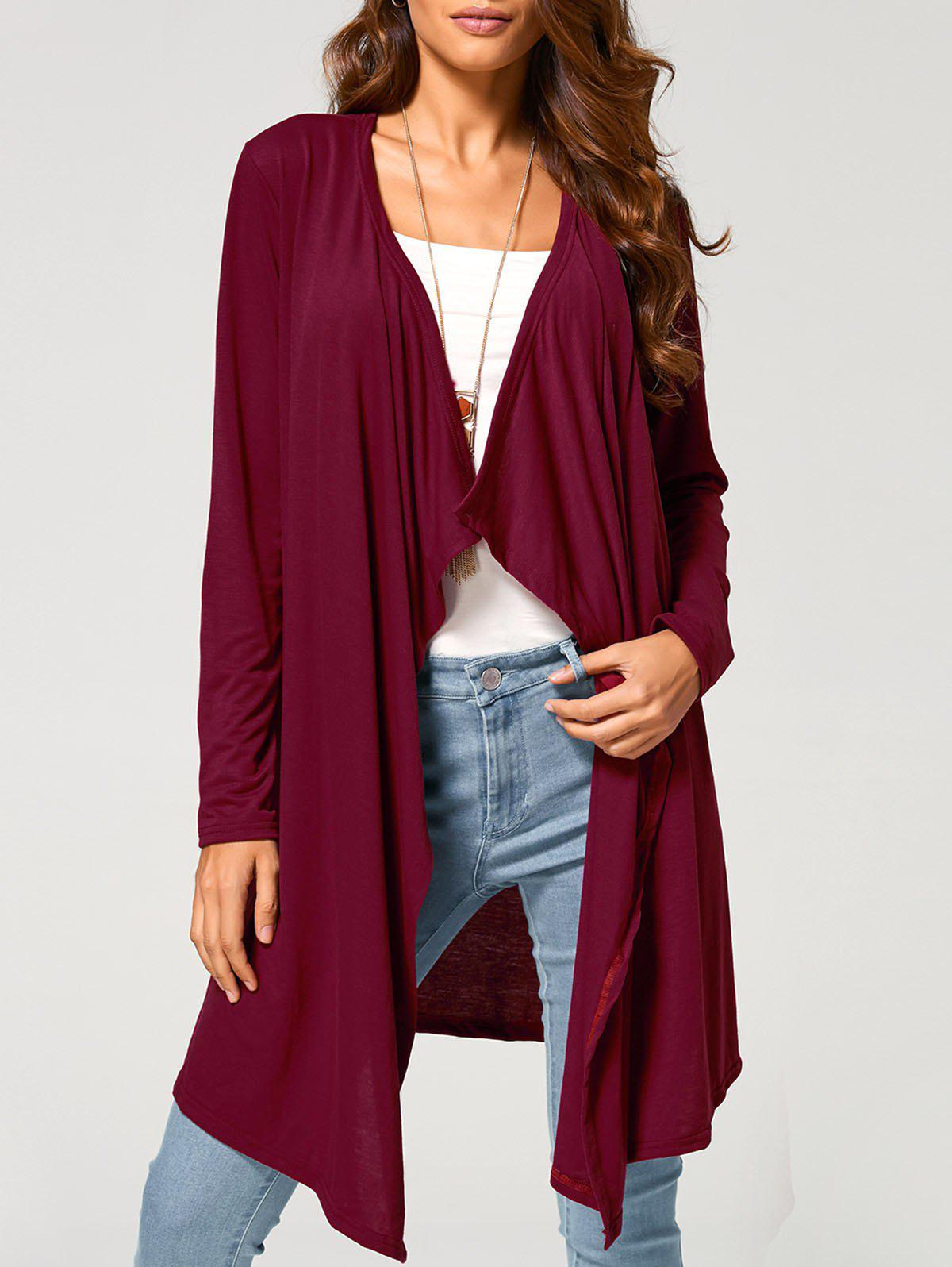 Long Duster Draped CardiganWomen<br><br><br>Size: XL<br>Color: WINE RED