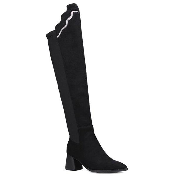 Pointed Toe Chunky Heel Knee-High BootsShoes<br><br><br>Size: 38<br>Color: BLACK