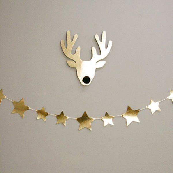 Home Decor Gold Star Bunting Garland Christmas Party Supplies - GOLDEN