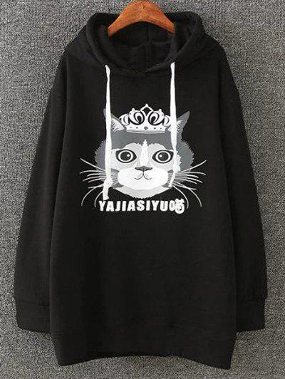Cartoon Cat Print Fleece Plus Size Hoodie - BLACK 4XL