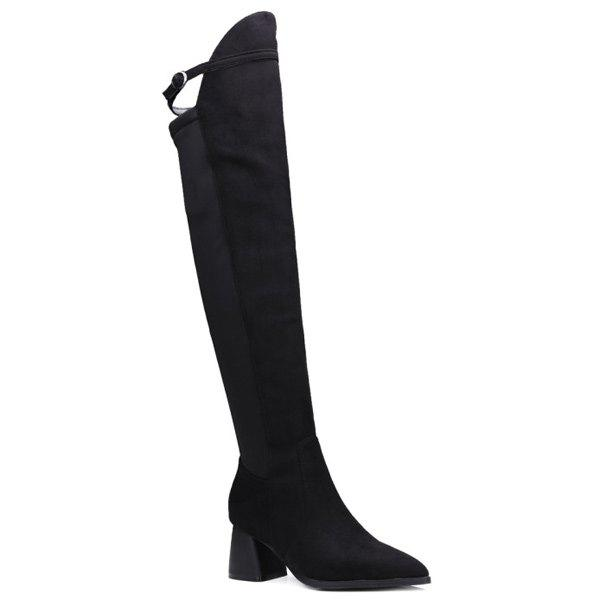 Buckle Strap Chunky Heel Knee-High Boots - BLACK 38