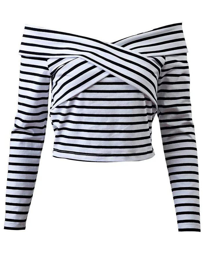 Off Shoulder Striped Front Criss T-Shirt - WHITE M