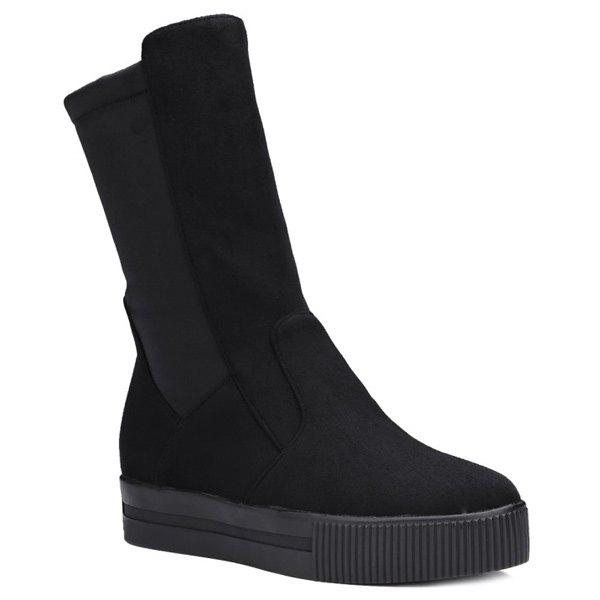Suede Platform Slip-On Mid-Calf Boots