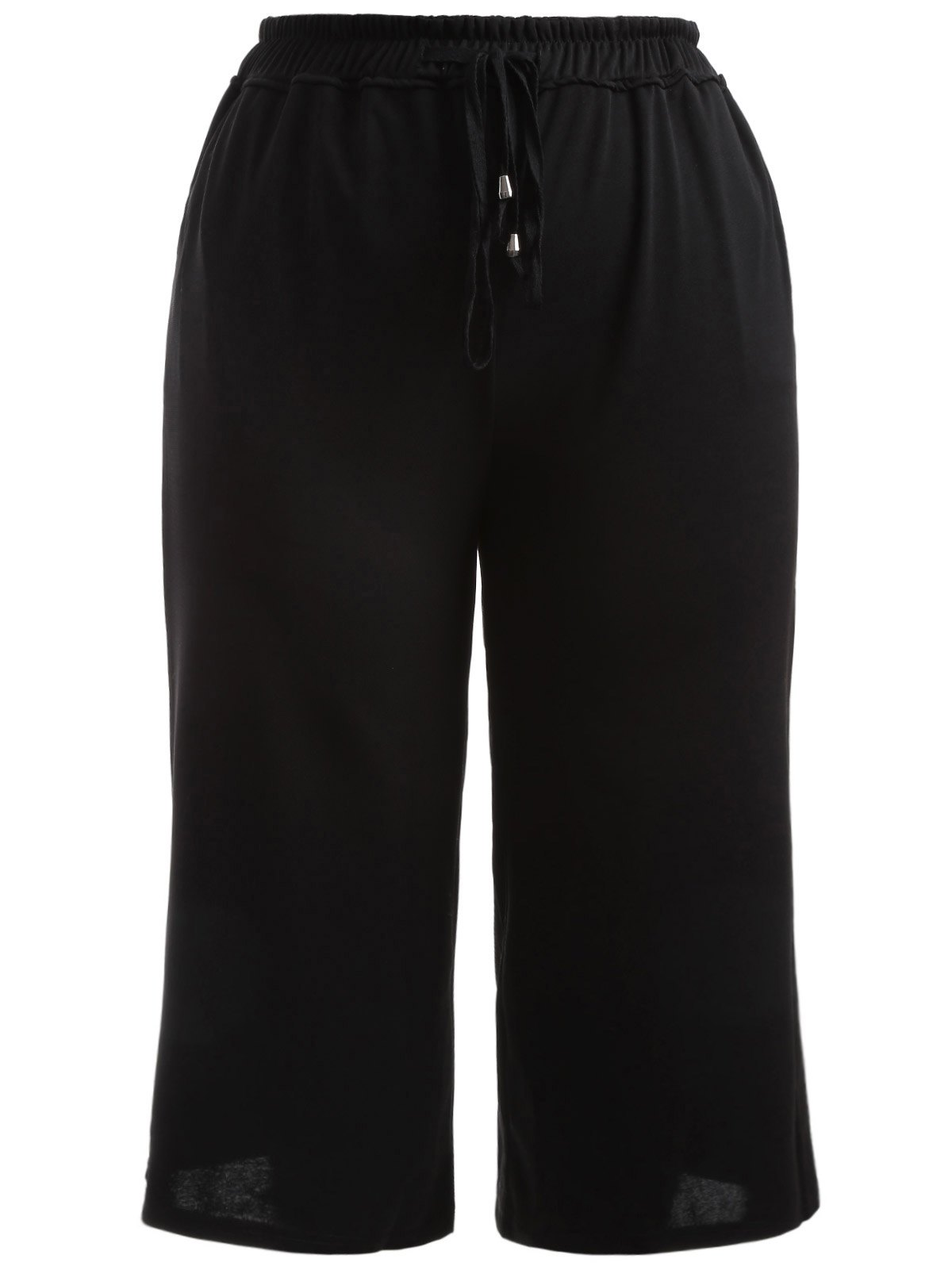 Trendy Drawstring Black Wide Leg Pants For Women