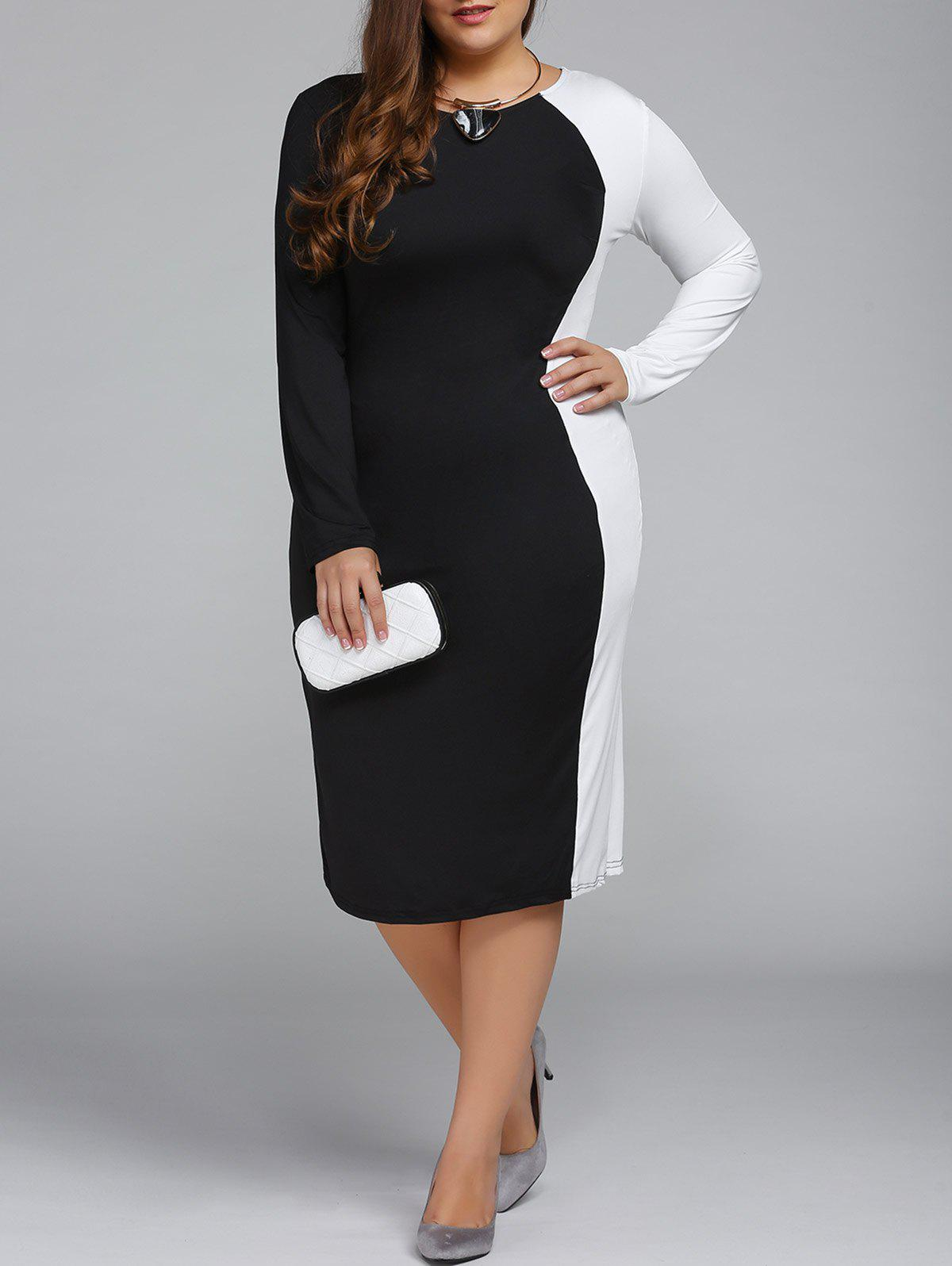 Plus Size Color Block Long Sleeve Sheath Modest Work Dress 574 classic