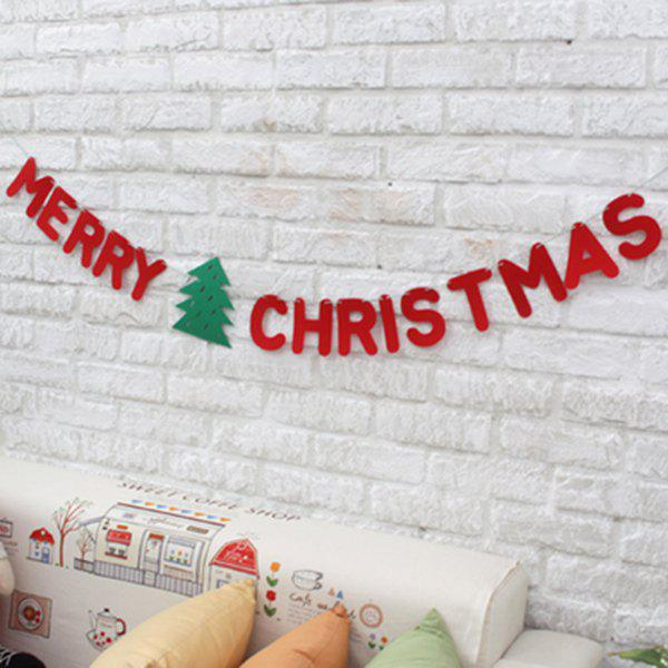 Merry Christmas Letter Banner Garland School Party Decoration - RED