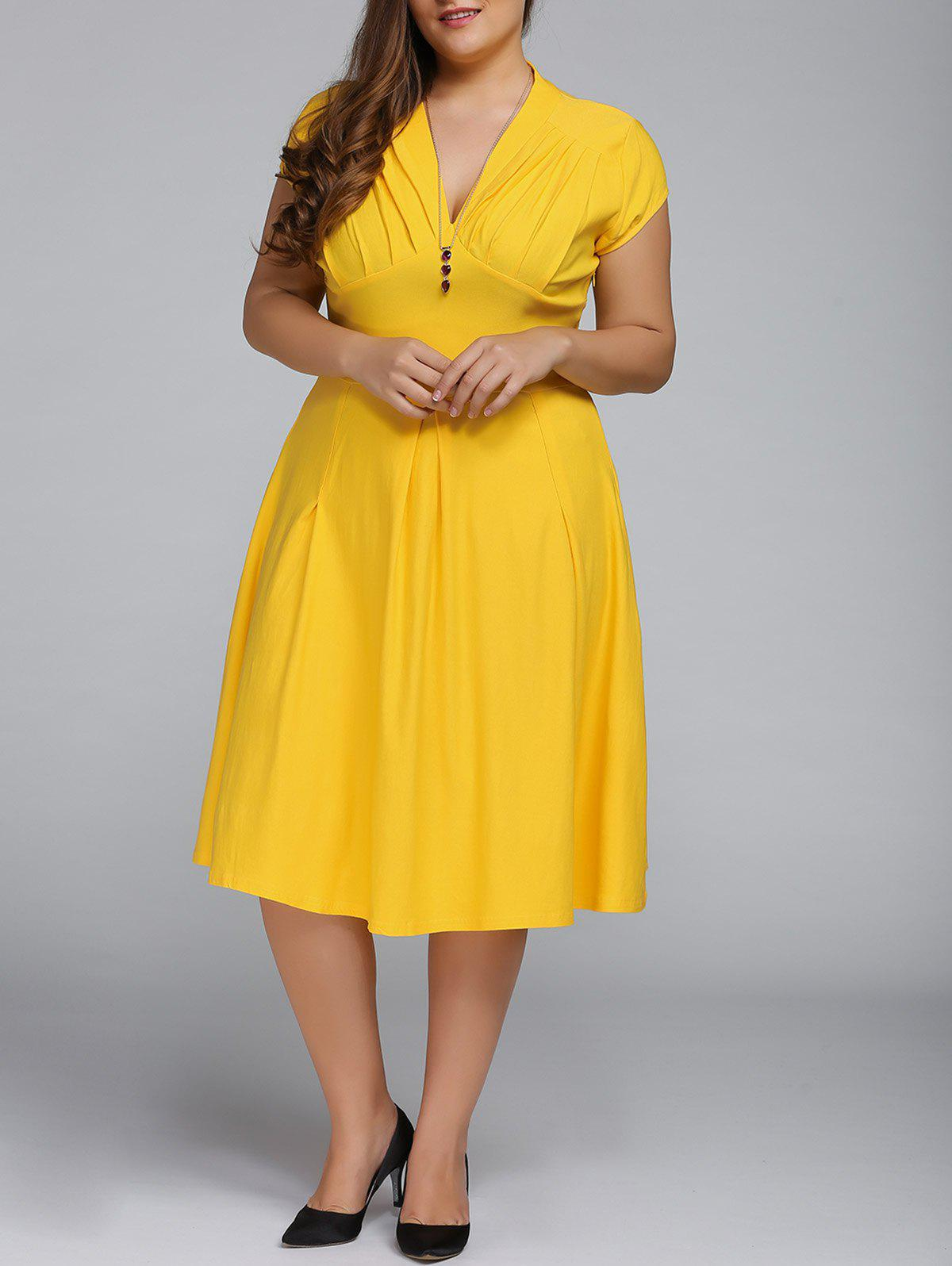 2018 V Neck Plus Size A Line Party Dress YELLOW XL In Plus Size ...