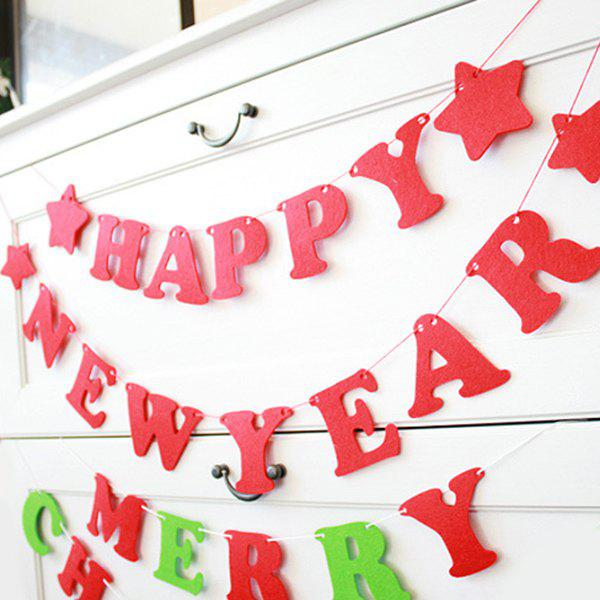 Happy New Year Letter Banner Party Supplies Home Decoration - RED
