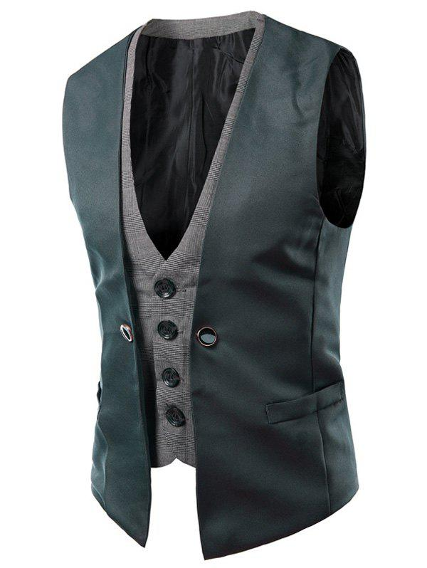 Single Breasted Color Block Faux Twinset V-Neck Sleeveless Men's Waistcoat - BLACKISH GREEN 2XL