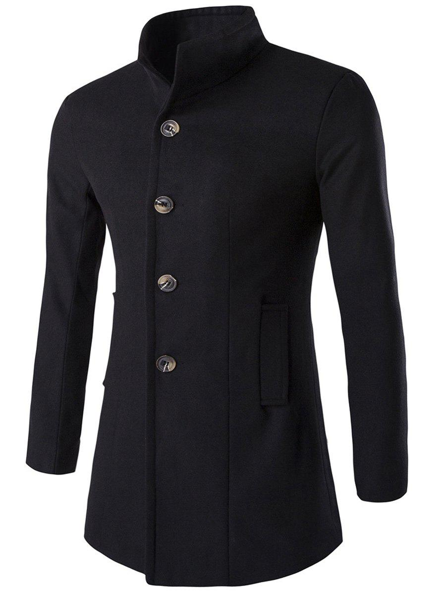 Long Sleeves Woolen Blend Single-Breasted Coat - BLACK M