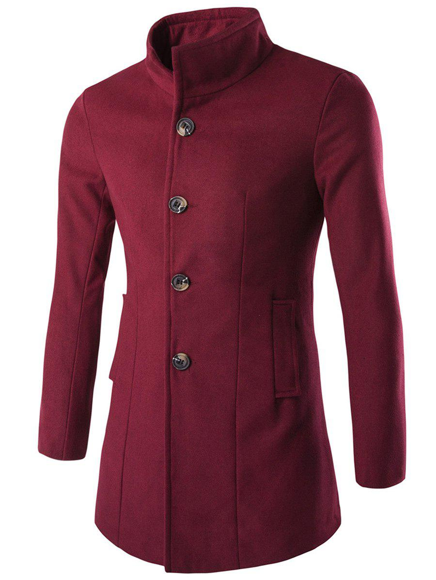 Long Sleeves Woolen Blend Single-Breasted Coat - WINE RED XL