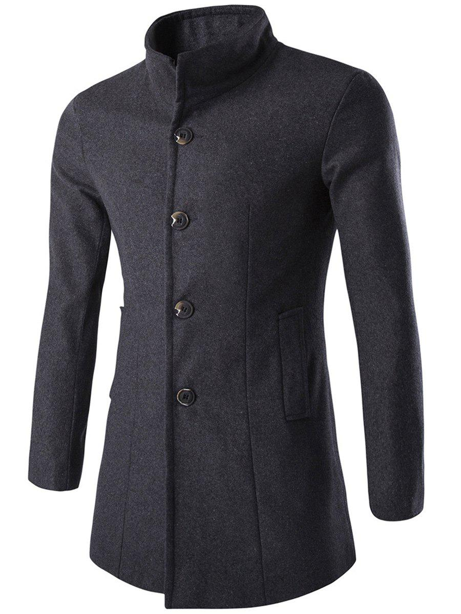 Long Sleeves Woolen Blend Single-Breasted Coat - GRAY 2XL