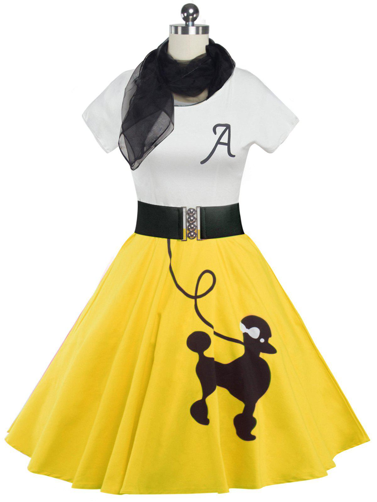 Retro Poodle Print High Waist Skater Dress - YELLOW 2XL