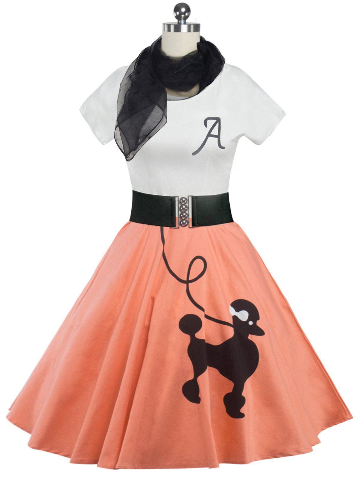 Retro Poodle Print High Waist Skater Dress - ORANGEPINK M