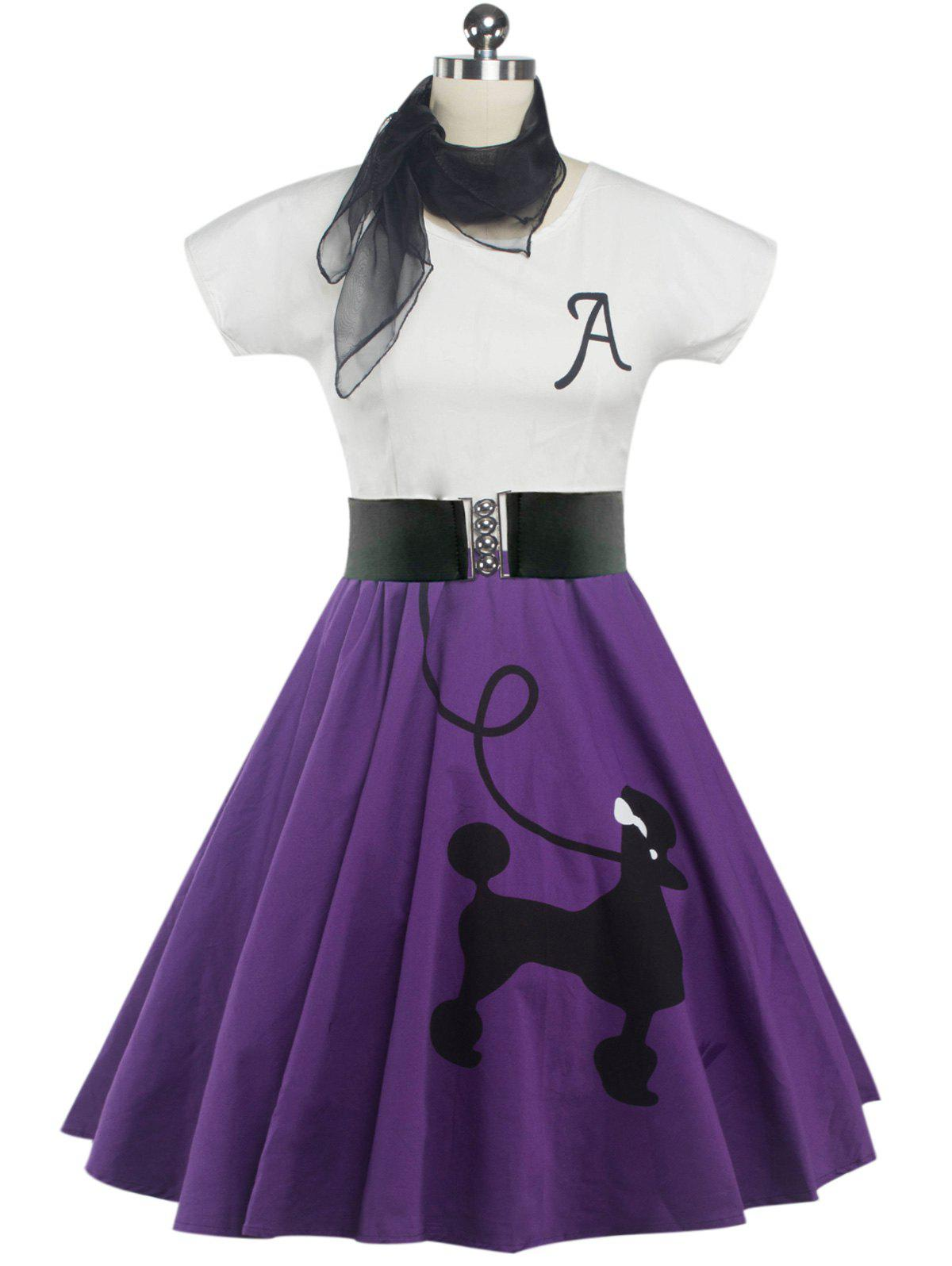 Retro Poodle Print High Waist Skater Dress - PURPLE L
