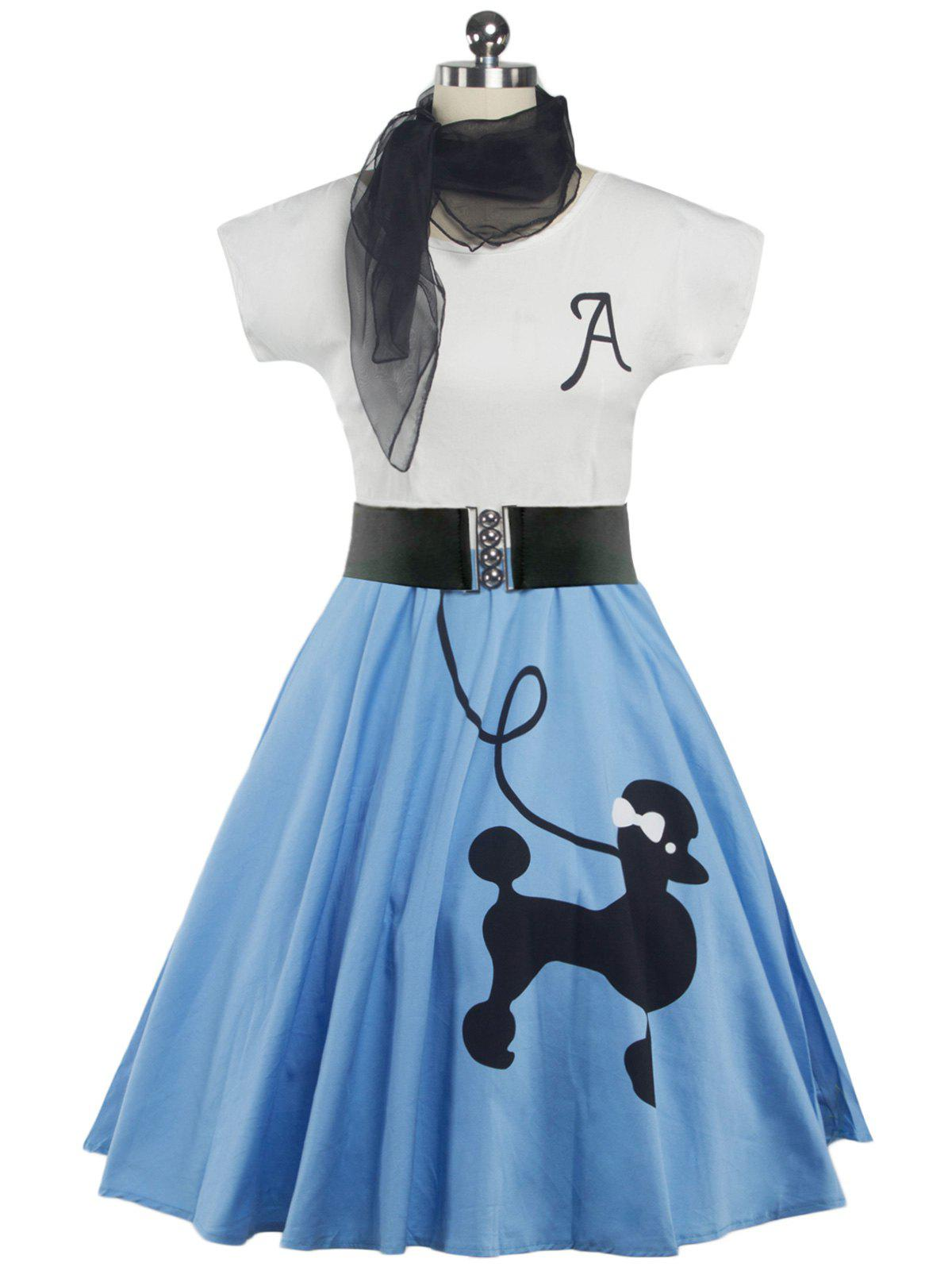 Retro Poodle Print High Waist Skater Dress - LIGHT BLUE M