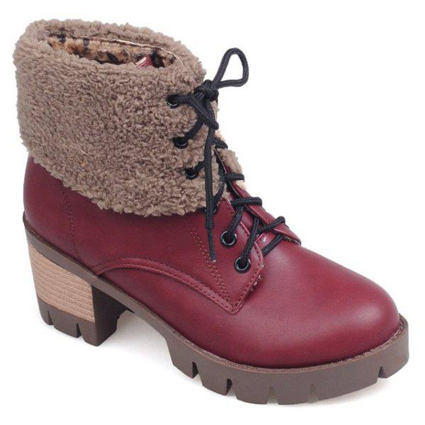 Chunky Heel Lace-Up Fuzzy Short BootsShoes<br><br><br>Size: 38<br>Color: RED