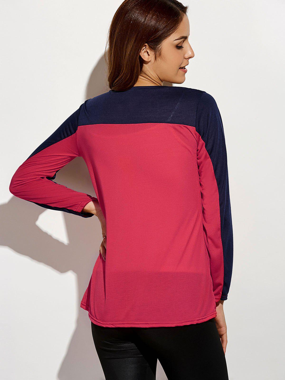 Sequin Long Sleeve Color Block T-Shirt - RED S