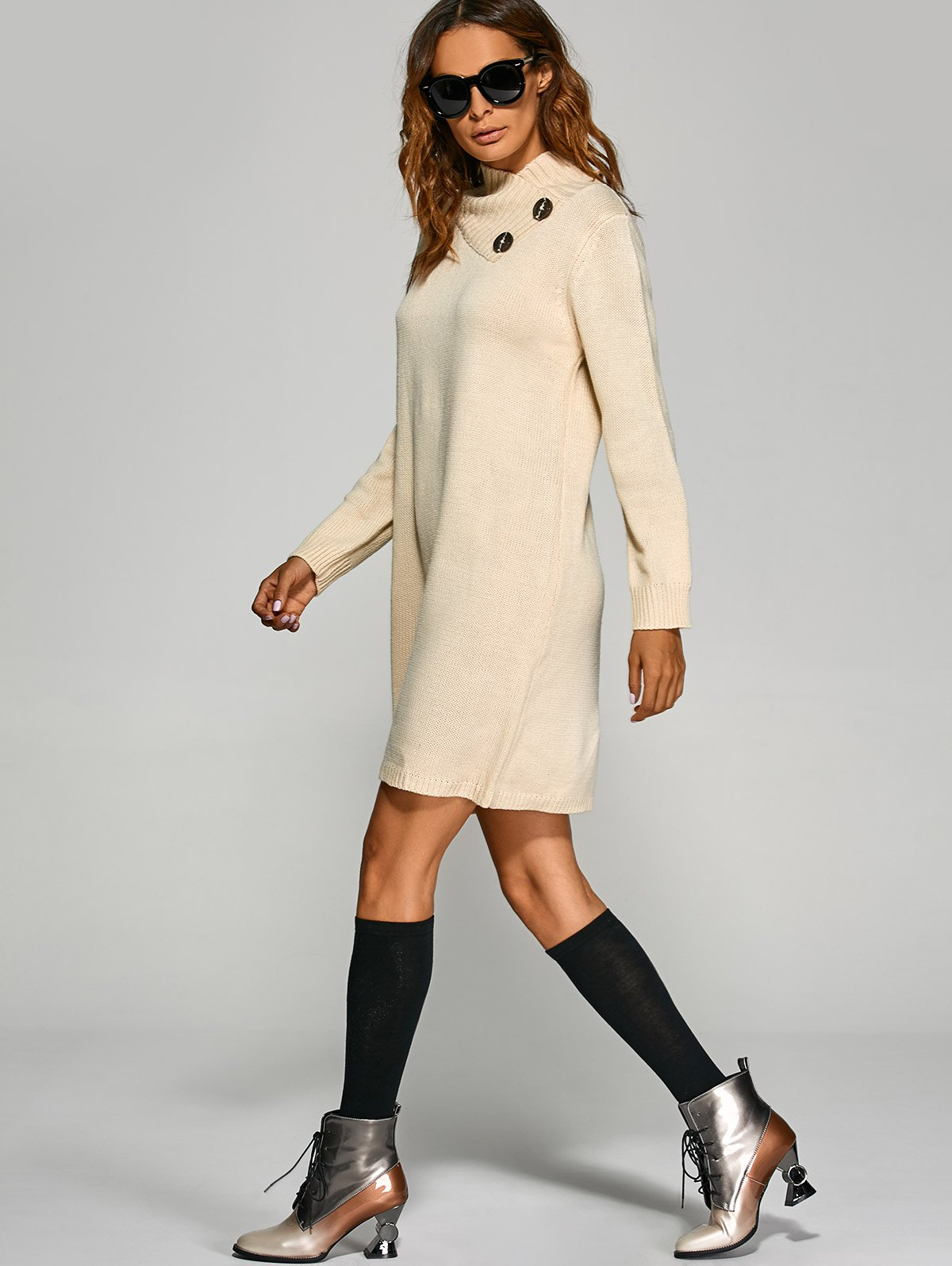 Tunic Knitted Long Sleeve Dress - OFF WHITE ONE SIZE